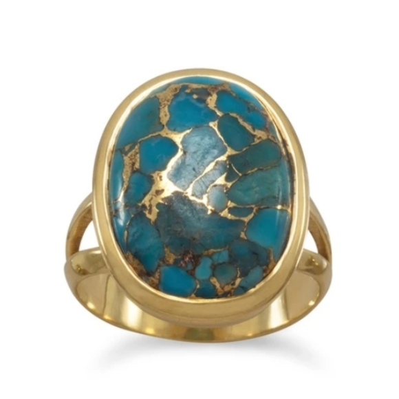 14 Karat Gold Plated Ring with Blue Topaz and Turquoise Gemstones